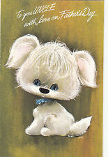 Cute Puppy Dog  Happy Fathers Day Uncle Vintage 1970s Greeting Card