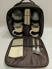 New GEVALIA Coffee Travel Backpack Picnic Set Thermos Mugs Insulated Brown Bag