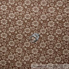 BonEful Fabric FQ Cotton Quilt Brown Tan Sm Retro Calico Flower Scroll Swirl Dot