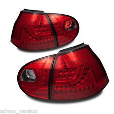 LED Tail Lights Set for 2006-2009 Volkswagen MK5 Golf GTI Rabit R32 - Chrome/Red