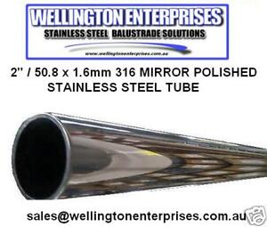 """1 1/2""""/ 38.1 x 1.6mm 316 STAINLESS STEEL MIRROR POLISHED ROUND TUBE MARINE GRADE"""