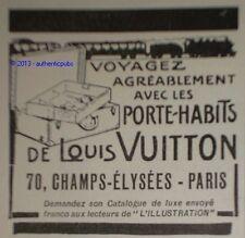 PUBLICITE DE 1922 LOUIS VUITTON PORTE HABIT TRAIN FRENCH ORIGINAL AD PUB ADVERT