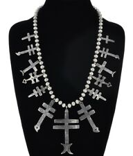 Navajo Old Pawn 1880s Style Sterling Silver Crosses Squash Blossom Necklace