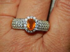 JALISCO FIRE OPAL & NATURAL CAMBODIAN BAND RING-SIZE V-1.500CTS-WITH 14K GOLD