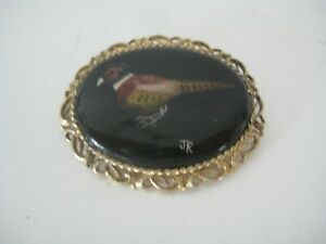 Hand Painted On Porcelain Pheasant Brooch By JR