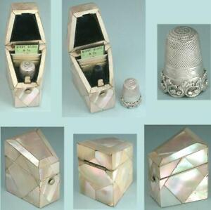 Antique Mother Of Pearl Needle Packet Case w/ Sterling Silver Thimble * C1850