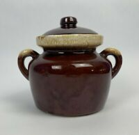 Vintage McCoy #341 Brown Drip Ceramic Porcelain Bean Pot Crock