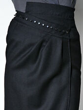 NWT Costume National WOOL TULIP PENCIL SKIRT WITH ASYMMETRIC WAIST black 42 6 M