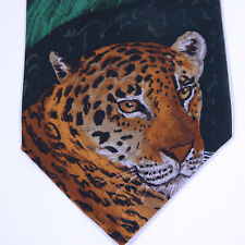 VTG WWF World Wildlife Fund Animal Print JAGUAR Leopard SILK Neck Tie Necktie146