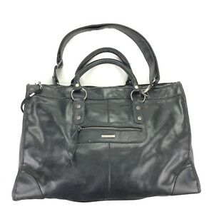 Victoria Secret Black Leather Duffle Carry On Overnight Weekender Bag Travel