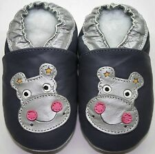 Minishoezoo soft sole leather kids slippers 5-6y hippo gray