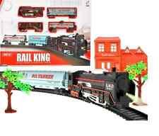 Elektrische Zug Eisenbahnzug Eisenbahn  Lok + 3 Waggons + Schienen 104x68cm