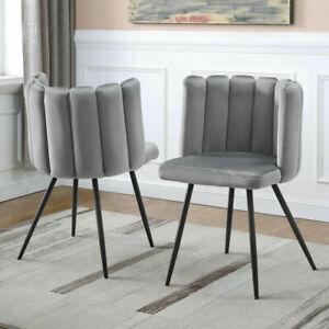 2 x Modern Petal Side Dining Chairs Soft Velvet Fabric Seat Dresser Lounge Chair