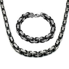 Fashion Stainless Steel Men Women Byzantine Box Chain Link Necklace Bracelet Set