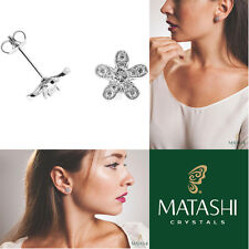 18K White Gold Plated Stud Earrings w/ '5 Petaled Flower' & Crystals by Matashi
