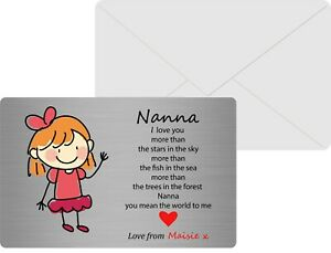 Personalised Sentimental Metal Wallet Card to Nanna/ Nan, I love you more than.