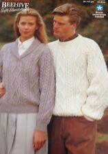 "Patons Aran Knitting Pattern  Jumper Sweater For Men Or Women  C3906 Size 32/46"""