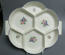 large 6 section sectional divided dish Poole Pottery England flower motif HP