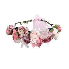 Adjustable Ribbon Flower Headband Wreath Wedding Garland Bridal Crown Hairband