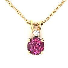 14 Karat Yellow Gold Garnet and Diamond Pendant on Chain by Diamond Designs