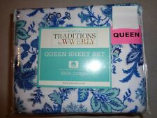 Traditions by WAVERLY XDeep flannel QUEEN Sheet set - Blue, teal, white paisley