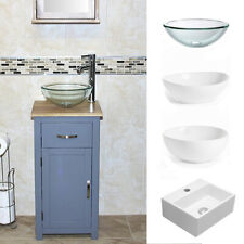 Solid Oak Top Bathroom Cabinet | Compact Vanity Sink | Grey Painted
