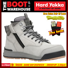 Hard Yakka Y60202 Work Boots. GREY. Steel Cap Safety. Lace-Up & Zip Side. NEW!