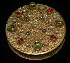 New listing Absolutely Magnificent Antique Austrian Gilt Jeweled & Pearls Compact Patch Box