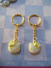 "Hello Kitty """" Yellow / Gold  tone """" Keychain Ring** Lot-of-2** Free Shipping"