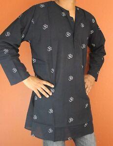 Shirt Tunic Kurta Om Symbol Handmade 100% Soft Cotton Gorgeous Black Large