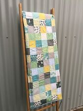 Handmade Child Patchwork Quilt / Quillow in Charcoal Grey Yellow Mint