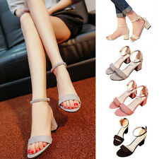Women Ankle Strap Sandals Mid Chunky Heel Sandal Shoes Velvet Office Walk Shoes