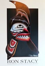 Ron Stacy Lithograph Hand Signed Northwest Coast Killer Whale 1990's