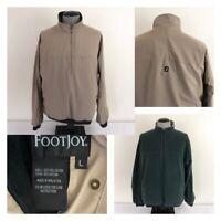 FootJoy Mens L Reversible 1/2 Zip Tan Green Pullover Logo Spell Out Golf Jacket