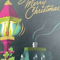 Vintage Mid Century Christmas Greeting Card Hot Pink Lantern Dark Green House