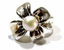 Designer Ann King Sterling Silver Freshwater Pearl Orchid Flower Ring Size 6