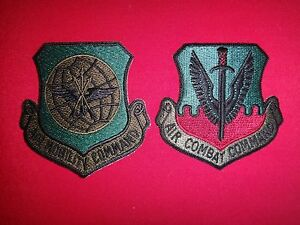 2 US Air Force Patches: air MOBILITY COMMAND + air COMBAT Command