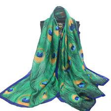 Peacock Feather Silk Scarf Hijabs Scarves Wraps Shawl Pashmina Women 180x90cm