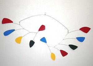 Modern Hanging Mobile Art Primary Colors Rainbow Leaves Big New Metal