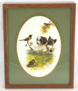 Wood Frame Genuine GIORDANO Puppy Kitten Squirrel Print Wall Hanging 22x27cm