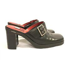 Vintage Tommy Hilfiger Women's Size 6 1/2M Black Square Toe Platform Slides