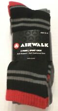 AIRWALK Men's Sports Crew Socks 3 Pair Grays/Black/Red Polyester Sock Size 10-13