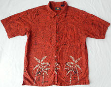 Palm Red Tropical Short Sleeve Beach Aloha Shirt - Large Mens Cotton Resort