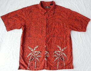 Palm Red Tropical Short Sleeve Beach Aloha Shirt - Large Mens Cotton Resort