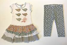 VVHTF NAARTJIE SZ 4 BIRD LINE APPLIQUÉ PRINT TIERED DRESS LEGGINGS WHITE VIBRANT