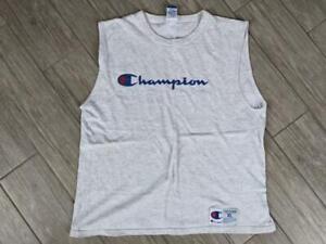 1990s vintage CHAMPION tee shirt SPELLOUT sleeveless XL heather gray basketball
