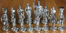 Brand New Large Silver & Brass Color Molded Metal Ancient Greek Chess Figures