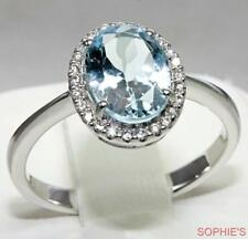 Aquamarine Halo White Gold Fine Rings