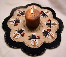 "Primitive Wool Felt Candle Mat Penny Rug Kit Wool Embroidery ""WINTER FRIENDS"""