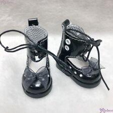 Mimiwoo Yo SD 1/6 bjd Doll Shoes Lace Hole Boots Black  (for Foot 4.5cm long)